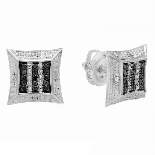 0.10 Carat (ctw) Sterling Silver Round Black & White Diamond Ladies Kite Shape Stud Earrings 1/10 CT