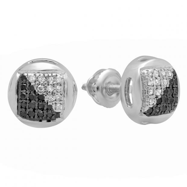 0.15 Carat (ctw) Sterling Silver Round Black & White Diamond Ladies Fashion Stud Earrings