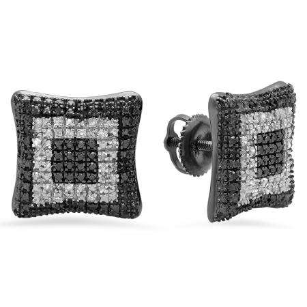 0.30 Carat (ctw) Black & White Plated Sterling Silver Round Black & White Diamond Ladies Kite Shape Stud Earrings 1/3 CT