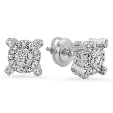 0.50 Carat (ctw) Sterling Silver Round White Diamond Ladies Cluster Style Fashion Stud Earrings 1/2 CT