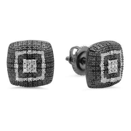 0.10 Carat (ctw) Black & White Plated Sterling Silver Round White Diamond Ladies Square Shape Fashion Stud Earrings 1/10 CT