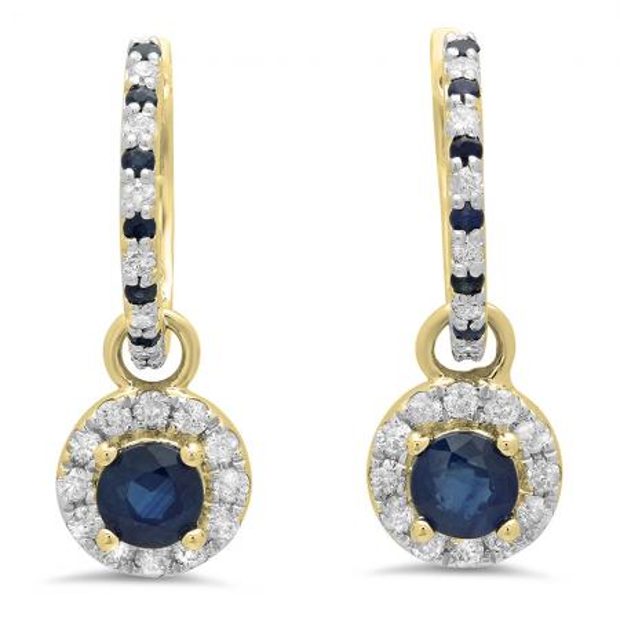 1.45 Carat (ctw) 14K Yellow Gold Round Blue Sapphire & White Diamond Ladies Halo Style Dangling Drop Earrings 1 1/2 CT