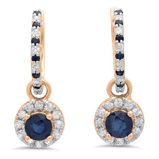 1.45 Carat (ctw) 18K Rose Gold Round Blue Sapphire & White Diamond Ladies Halo Style Dangling Drop Earrings 1 1/2 CT