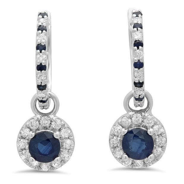 1.45 Carat (ctw) 18K White Gold Round Blue Sapphire & White Diamond Ladies Halo Style Dangling Drop Earrings 1 1/2 CT