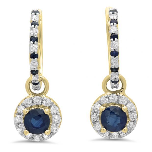 1.45 Carat (ctw) 18K Yellow Gold Round Blue Sapphire & White Diamond Ladies Halo Style Dangling Drop Earrings 1 1/2 CT
