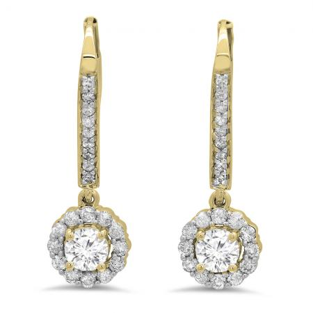 0.95 Carat (ctw) 10K Yellow Gold Round White Diamond Ladies Halo Style Dangling Drop Earrings 1 CT