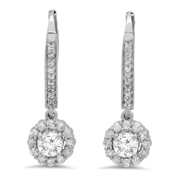 0.95 Carat (ctw) 14K White Gold Round White Diamond Ladies Halo Style Dangling Drop Earrings 1 CT