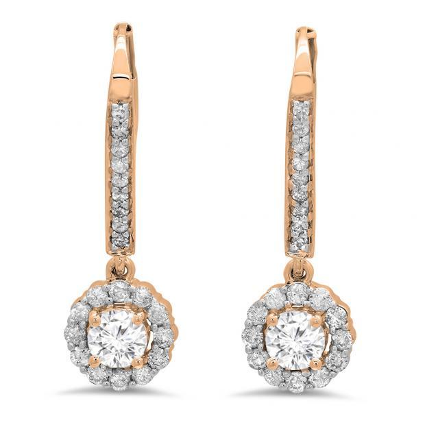 0.95 Carat (ctw) 18K Rose Gold Round White Diamond Ladies Halo Style Dangling Drop Earrings 1 CT