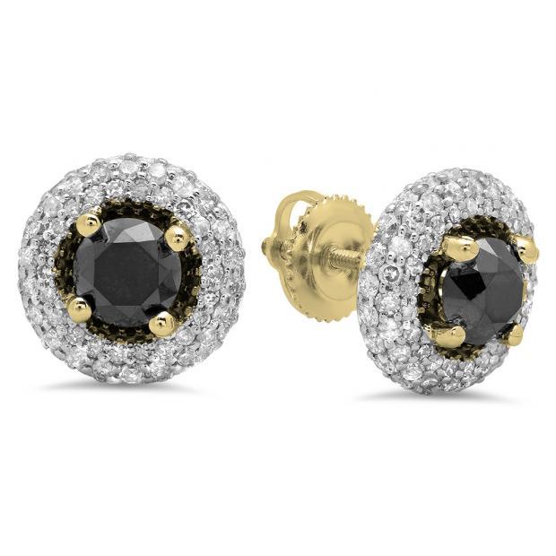 2.40 Carat (ctw) 10K Yellow Gold Round Black & White Diamond Ladies Halo Style Stud Earrings