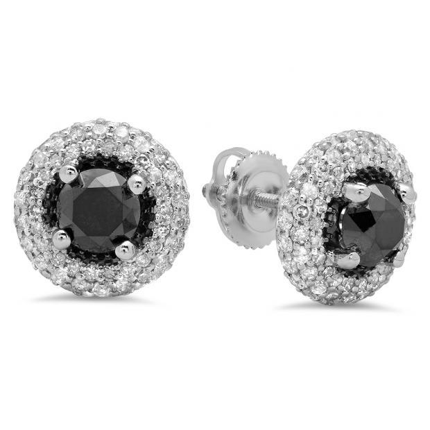 2.40 Carat (ctw) 18K White Gold Round Black & White Diamond Ladies Halo Style Stud Earrings