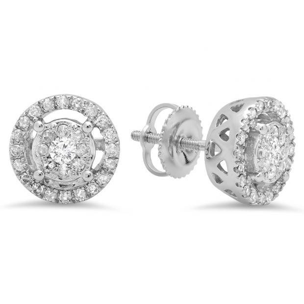 0.50 Carat (ctw) 10K White Gold Round White Diamond Ladies Cluster Style Stud Earrings 1/2 CT
