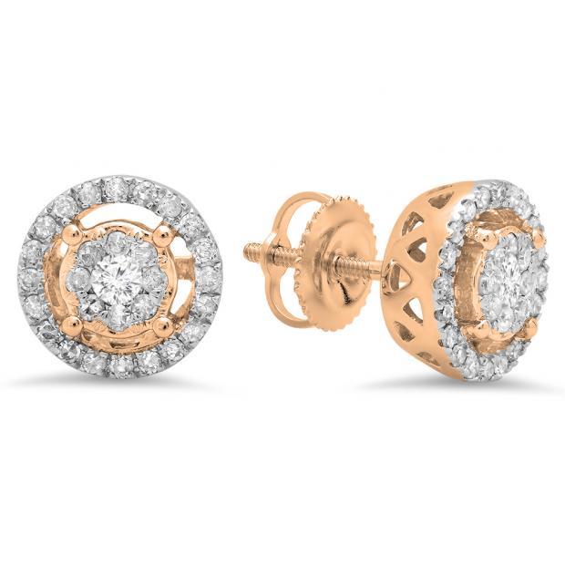 0.50 Carat (ctw) 14K Rose Gold Round White Diamond Ladies Cluster Style Stud Earrings 1/2 CT