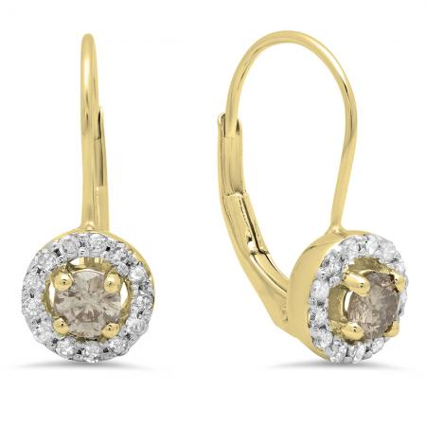 0.55 Carat (Ctw) 10K Yellow Gold Round White & Champagne Diamond Ladies Halo Style Huggies Hoop Earrings 1/2 CT