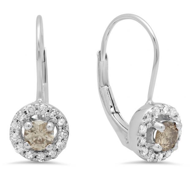 0.55 Carat (Ctw) 14K White Gold Round White & Champagne Diamond Ladies Halo Style Huggies Hoop Earrings 1/2 CT