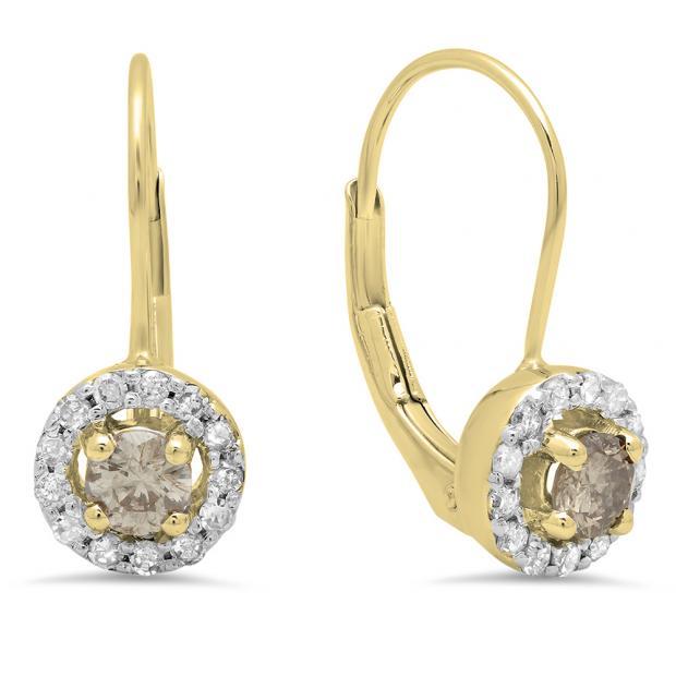 0.55 Carat (Ctw) 18K Yellow Gold Round White & Champagne Diamond Ladies Halo Style Huggies Hoop Earrings 1/2 CT