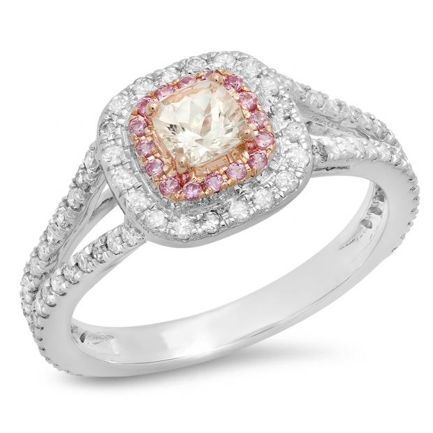 0.95 Carat (Ctw) Two Tone Rose Gold Plated 14K White Gold Cushion Morganite & Round Pink Sapphire & Diamond Bridal Halo Split Shank Engagement Ring 1 CT