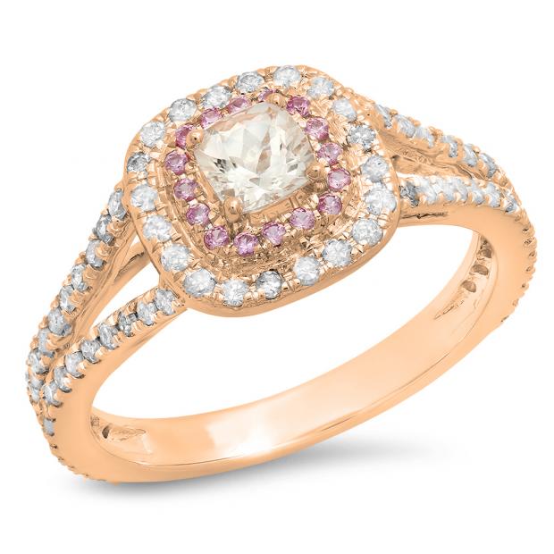 0.95 Carat (ctw) 14K Rose Gold Cushion Morganite & Round Pink Sapphire & Diamond Bridal Halo Split Shank Engagement Ring 1 CT