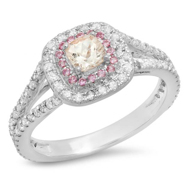 0.95 Carat (Ctw) 14K White Gold Cushion Morganite & Round Pink Sapphire & Diamond Bridal Halo Split Shank Engagement Ring 1 CT