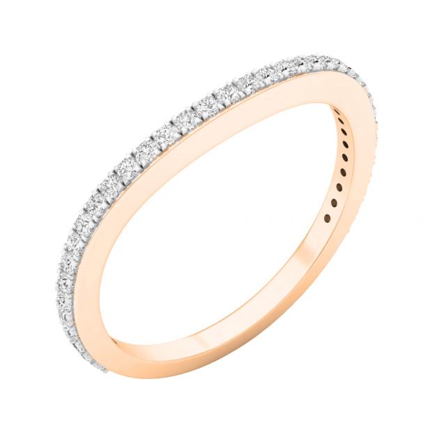 0.20 Carat (ctw) 10K Rose Gold Round Diamond Ladies Anniversary Stackable Ring Wedding Band 1/5 CT