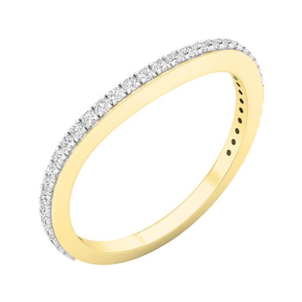 0.20 Carat (ctw) 10K Yellow Gold Round Diamond Ladies Anniversary Stackable Ring Wedding Band 1/5 CT