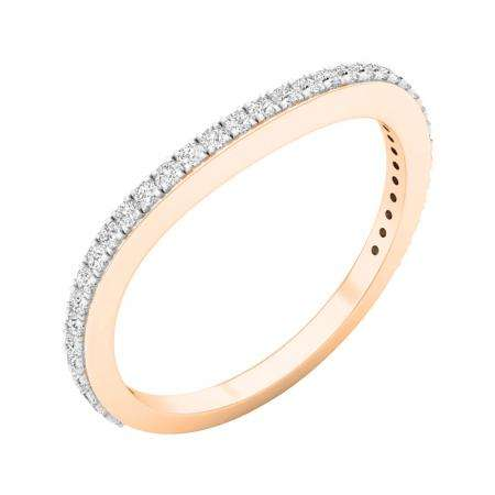 0.20 Carat (ctw) 18K Rose Gold Round Diamond Ladies Anniversary Stackable Ring Wedding Band 1/5 CT