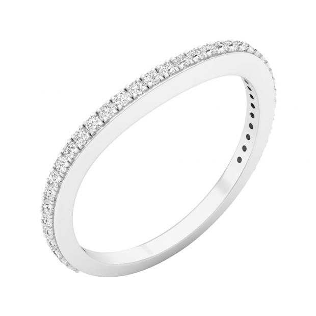 0.20 Carat (ctw) 18K White Gold Round Diamond Ladies Anniversary Stackable Ring Wedding Band 1/5 CT