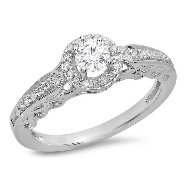 0.50 Carat (ctw) 10K White Gold Round White Diamond Ladies Halo Style Bridal Engagement Ring 1/2 CT