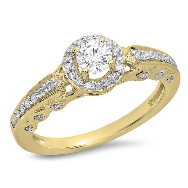 0.50 Carat (ctw) 10K Yellow Gold Round White Diamond Ladies Halo Style Bridal Engagement Ring 1/2 CT