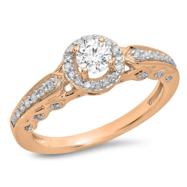 0.50 Carat (ctw) 14K Rose Gold Round White Diamond Ladies Halo Style Bridal Engagement Ring 1/2 CT