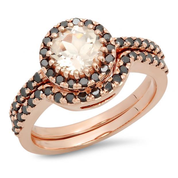 1.60 Carat (ctw) 14K Rose Gold Round Morganite & Black Diamond Ladies Bridal Halo Style Engagement Ring Set