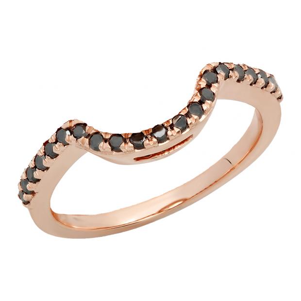 0.25 Carat (ctw) 14K Rose Gold Round Black Diamond Ladies Contour Anniversary Wedding Stackable Band Guard Ring 1/4 CT