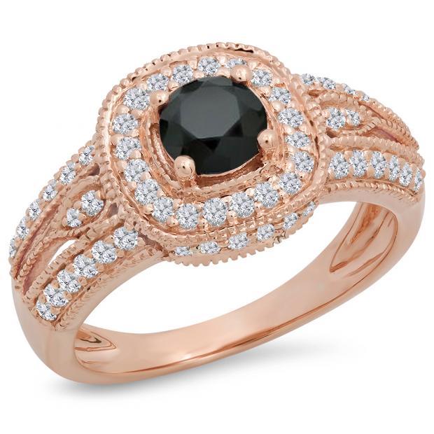 1.25 Carat (ctw) 10K Rose Gold Round Black & White Diamond Ladies Halo Style Bridal Engagement Ring 1 1/4 CT