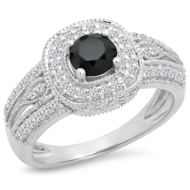 1.25 Carat (ctw) 14K White Gold Round Black & White Diamond Ladies Halo Style Bridal Engagement Ring 1 1/4 CT