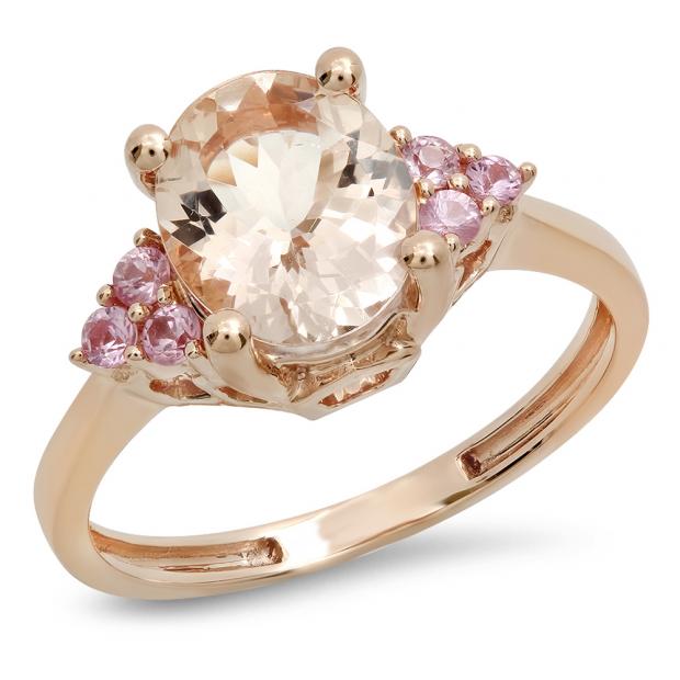 2.15 Carat (ctw) 18K Rose Gold Oval Morganite & Round Pink Sapphire Ladies Bridal Engagement Ring