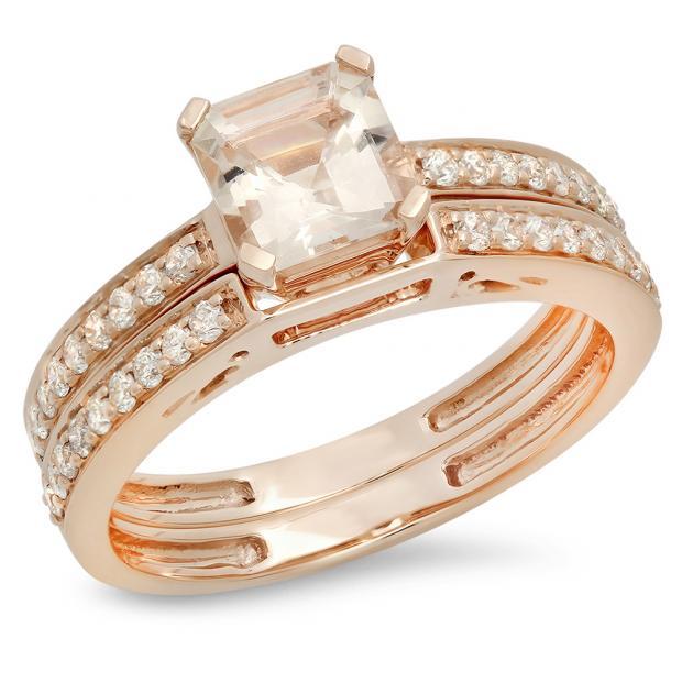 1.35 Carat (ctw) 18K Rose Gold Asscher Morganite & Round White Diamond Ladies Bridal Engagement Ring Set