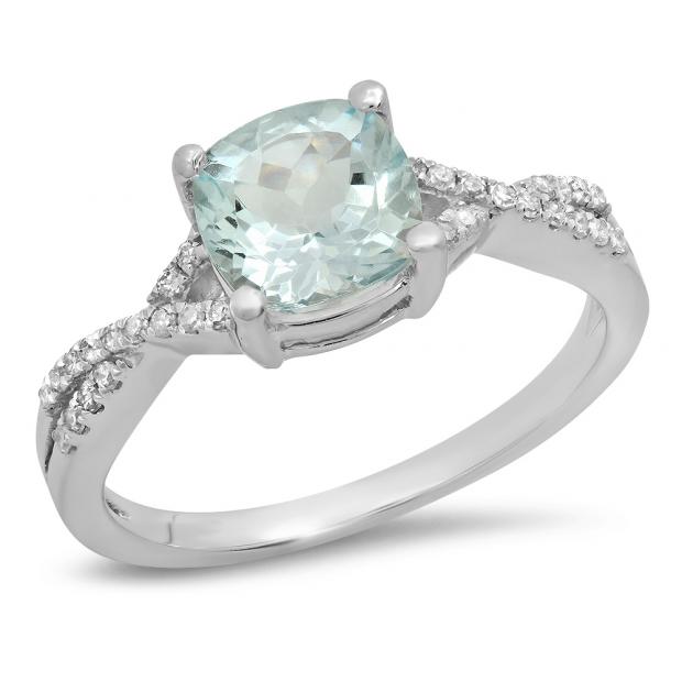 1.45 Carat (ctw) 10K White Gold Cushion Aquamarine & Round White Diamond Ladies Swirl Split Shank Bridal Engagement Ring 1 1/2 CT