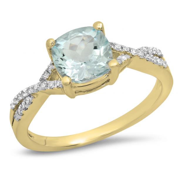 1.45 Carat (ctw) 10K Yellow Gold Cushion Aquamarine & Round White Diamond Ladies Swirl Split Shank Bridal Engagement Ring 1 1/2 CT