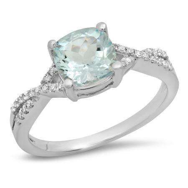 1.45 Carat (ctw) 18K White Gold Cushion Aquamarine & Round White Diamond Ladies Swirl Split Shank Bridal Engagement Ring 1 1/2 CT