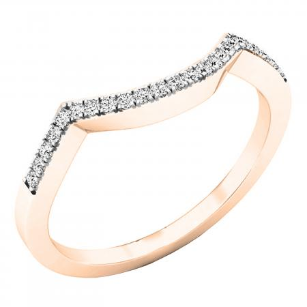 0.10 Carat (ctw) 10K Rose Gold Round Diamond Stackable Wedding Contour Band Guard Ring 1/10 CT