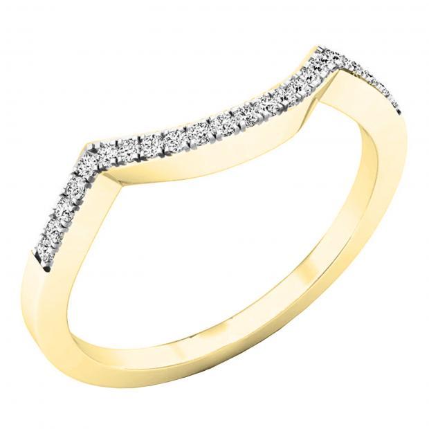 0.10 Carat (ctw) 10K Yellow Gold Round Diamond Stackable Wedding Contour Band Guard Ring 1/10 CT
