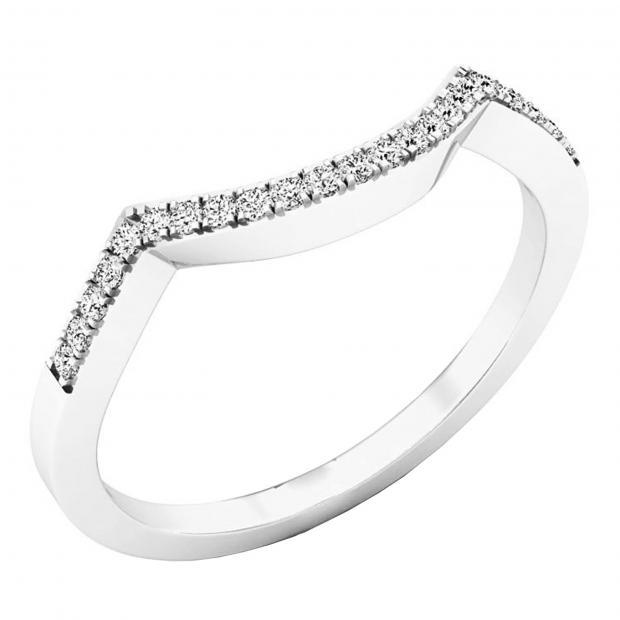 0.10 Carat (ctw) 18K White Gold Round Diamond Stackable Wedding Contour Band Guard Ring 1/10 CT
