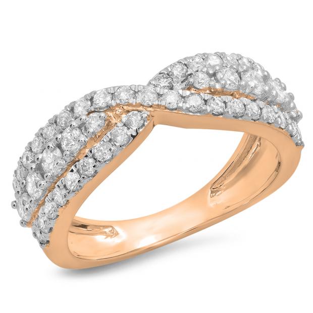 1.00 Carat (ctw) 10K Rose Gold Round White Diamond Ladies Fashion Cocktail Right Hand Ring 1 CT