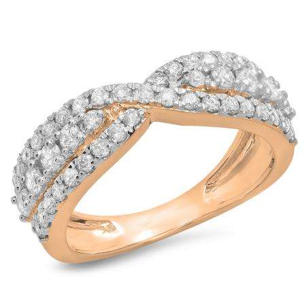 1.00 Carat (ctw) 14K Rose Gold Round White Diamond Ladies Fashion Cocktail Right Hand Ring 1 CT