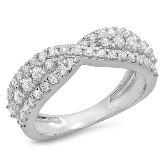 1.00 Carat (ctw) 18K White Gold Round White Diamond Ladies Fashion Cocktail Right Hand Ring 1 CT