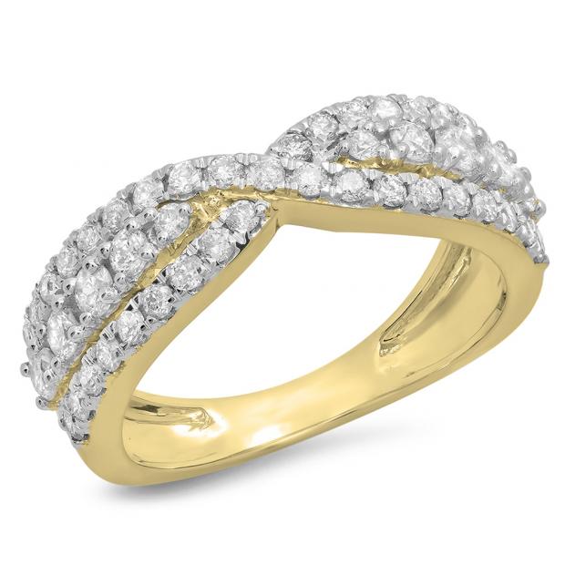 1.00 Carat (ctw) 18K Yellow Gold Round White Diamond Ladies Fashion Cocktail Right Hand Ring 1 CT