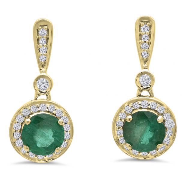 1.10 Carat (ctw) 10K Yellow Gold Round Green Emerald & White Diamond Ladies Halo Style Dangling Drop Earrings 1 CT