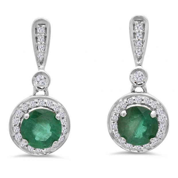 1.10 Carat (ctw) 14K White Gold Round Green Emerald & White Diamond Ladies Halo Style Dangling Drop Earrings 1 CT