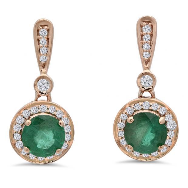 1.10 Carat (ctw) 18K Rose Gold Round Green Emerald & White Diamond Ladies Halo Style Dangling Drop Earrings 1 CT