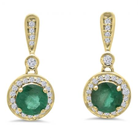 1.10 Carat (ctw) 18K Yellow Gold Round Green Emerald & White Diamond Ladies Halo Style Dangling Drop Earrings 1 CT