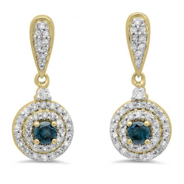 0.50 Carat (ctw) 14K Yellow Gold Round Blue & White Diamond Ladies Halo Style Dangling Drop Earrings 1/2 CT